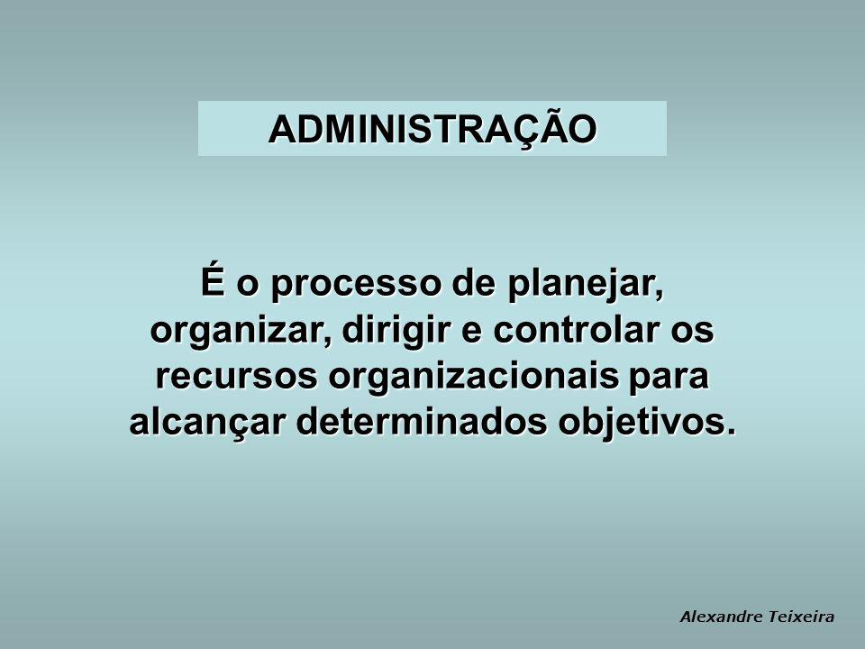 ADMINISTRAÇÃO É o processo de planejar, organizar, dirigir e controlar os recursos organizacionais para alcançar determinados objetivos.