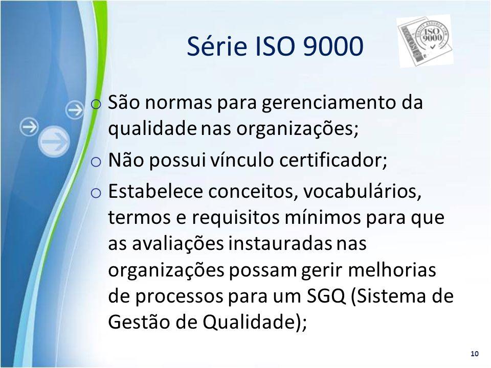Série ISO 9000 São normas para gerenciamento da qualidade nas organizações; Não possui vínculo certificador;