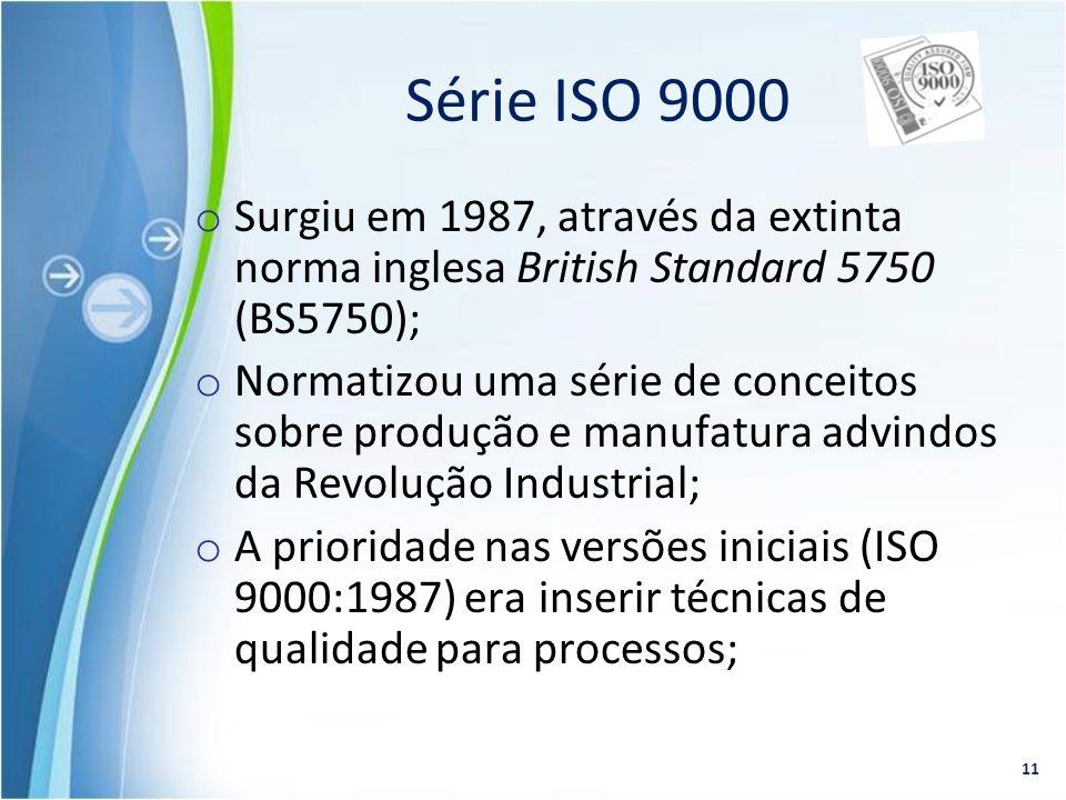 Série ISO 9000 Surgiu em 1987, através da extinta norma inglesa British Standard 5750 (BS5750);