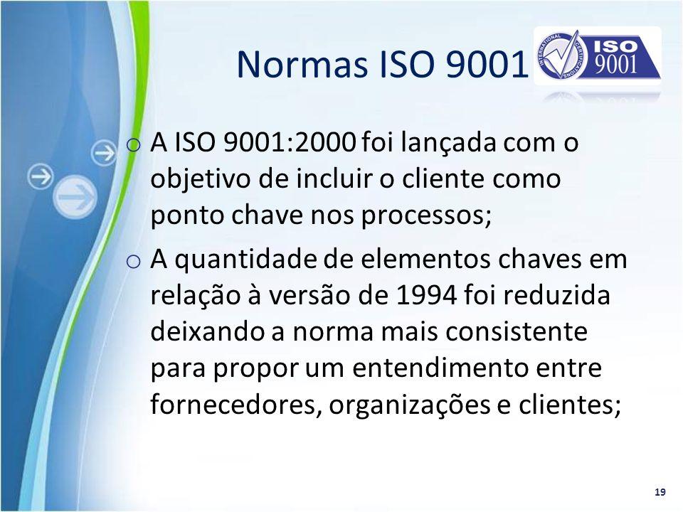 Normas ISO 9001 A ISO 9001:2000 foi lançada com o objetivo de incluir o cliente como ponto chave nos processos;