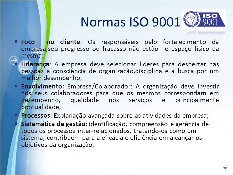 Normas ISO 9001 Foco no cliente: Os responsáveis pelo fortalecimento da empresa,seu progresso ou fracasso não estão no espaço físico da mesma;