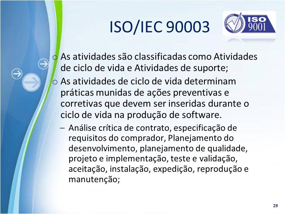 ISO/IEC 90003 As atividades são classificadas como Atividades de ciclo de vida e Atividades de suporte;
