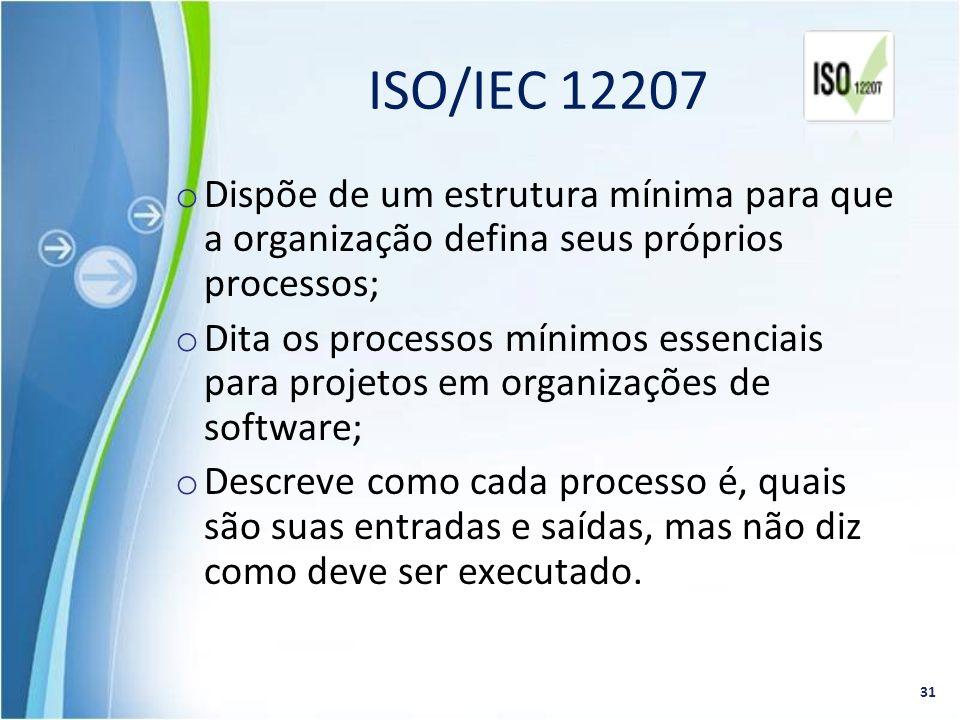 ISO/IEC 12207 Dispõe de um estrutura mínima para que a organização defina seus próprios processos;