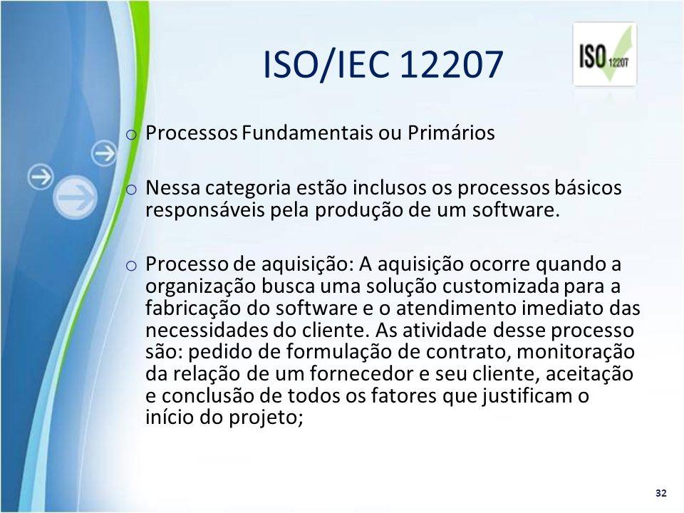 ISO/IEC 12207 Processos Fundamentais ou Primários
