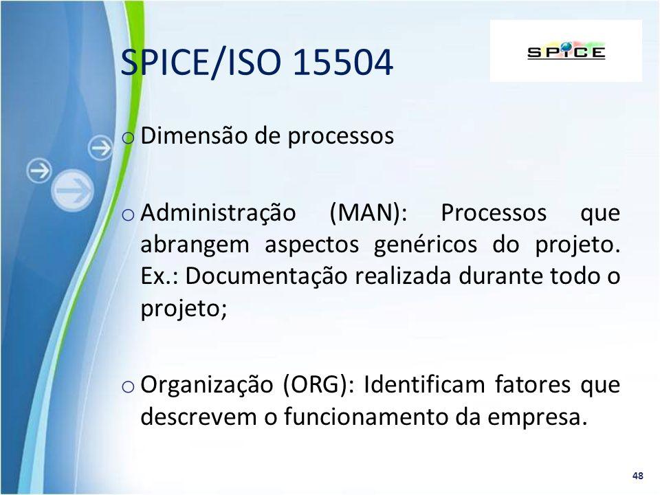 SPICE/ISO 15504 Dimensão de processos