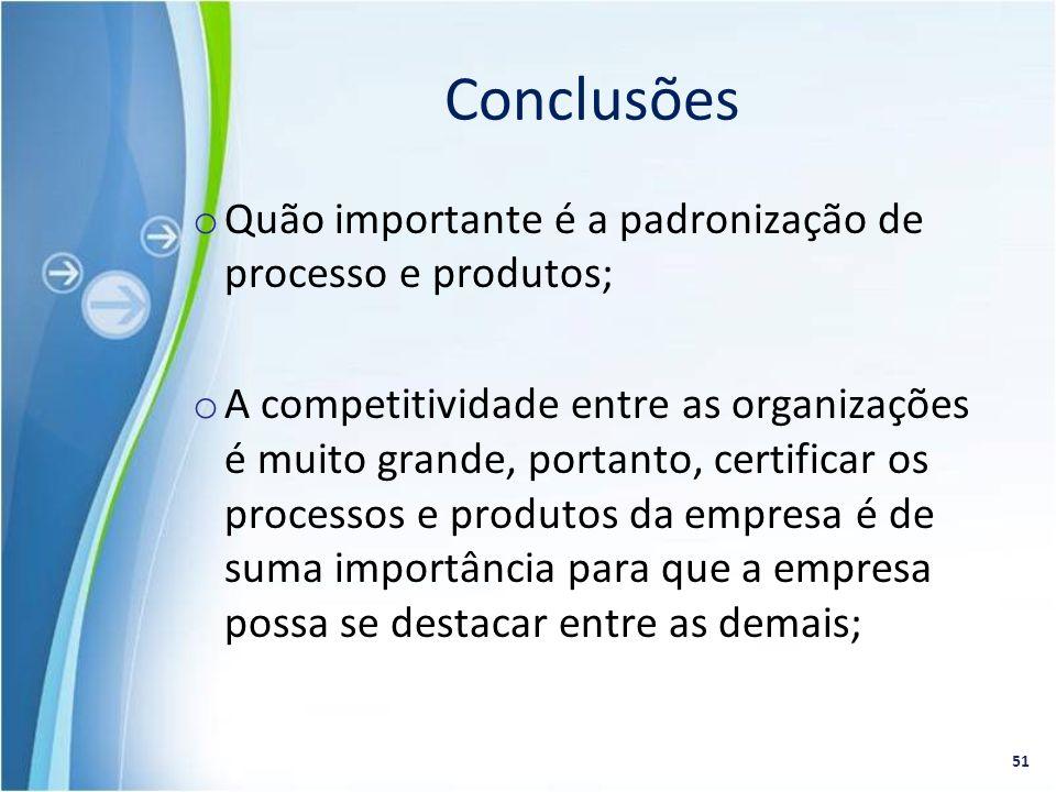 Conclusões Quão importante é a padronização de processo e produtos;