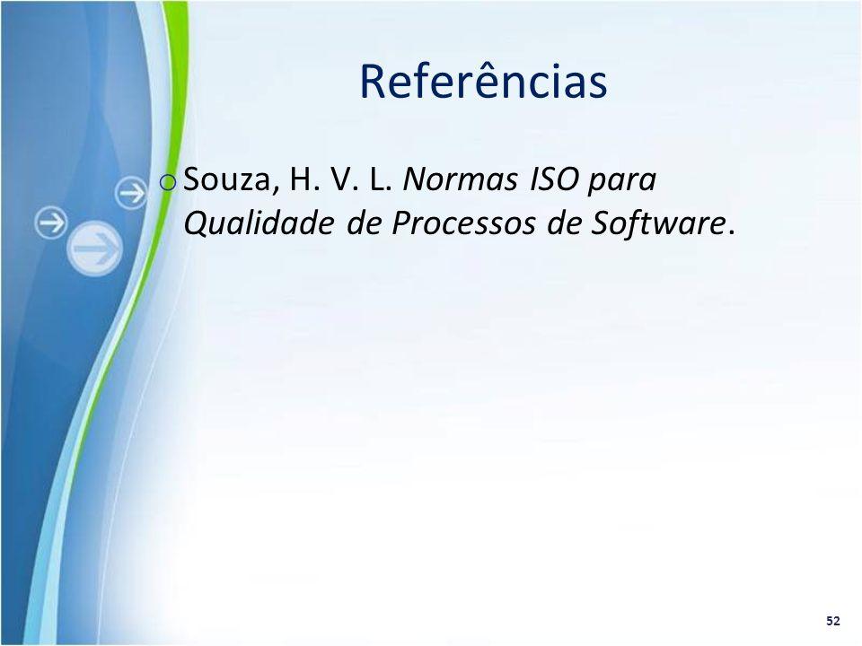 Referências Souza, H. V. L. Normas ISO para Qualidade de Processos de Software.