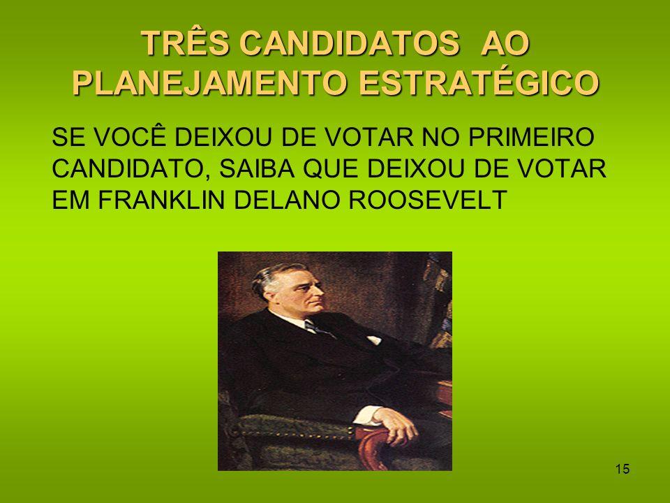 TRÊS CANDIDATOS AO PLANEJAMENTO ESTRATÉGICO