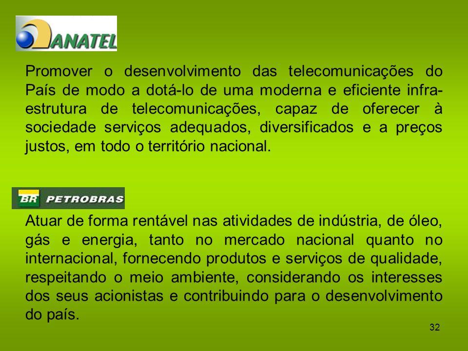 Promover o desenvolvimento das telecomunicações do País de modo a dotá-lo de uma moderna e eficiente infra-estrutura de telecomunicações, capaz de oferecer à sociedade serviços adequados, diversificados e a preços justos, em todo o território nacional.