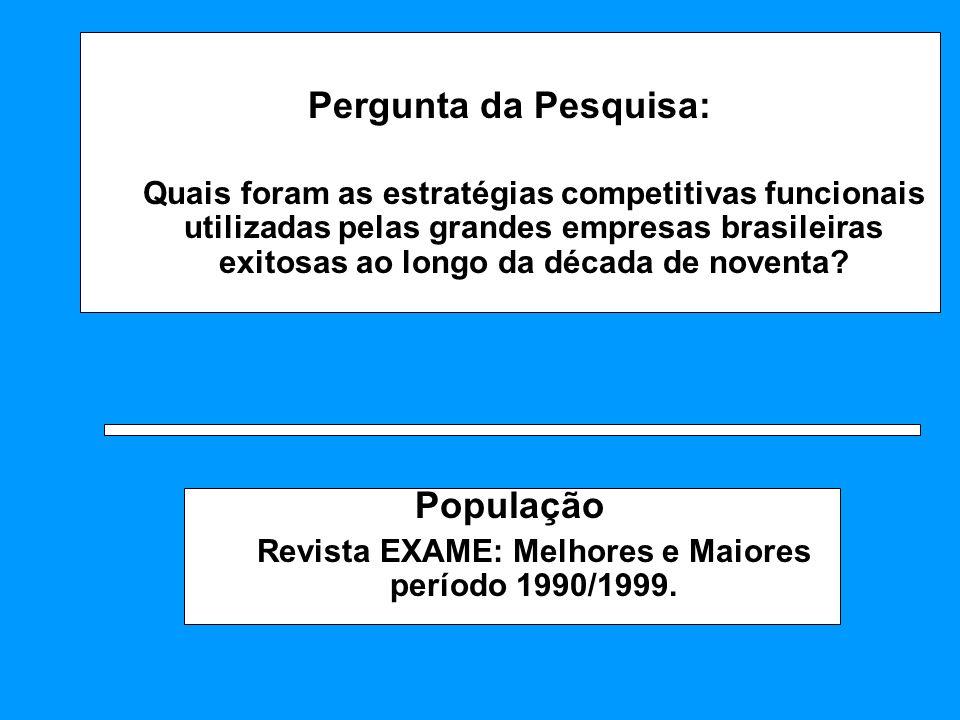 Revista EXAME: Melhores e Maiores período 1990/1999.