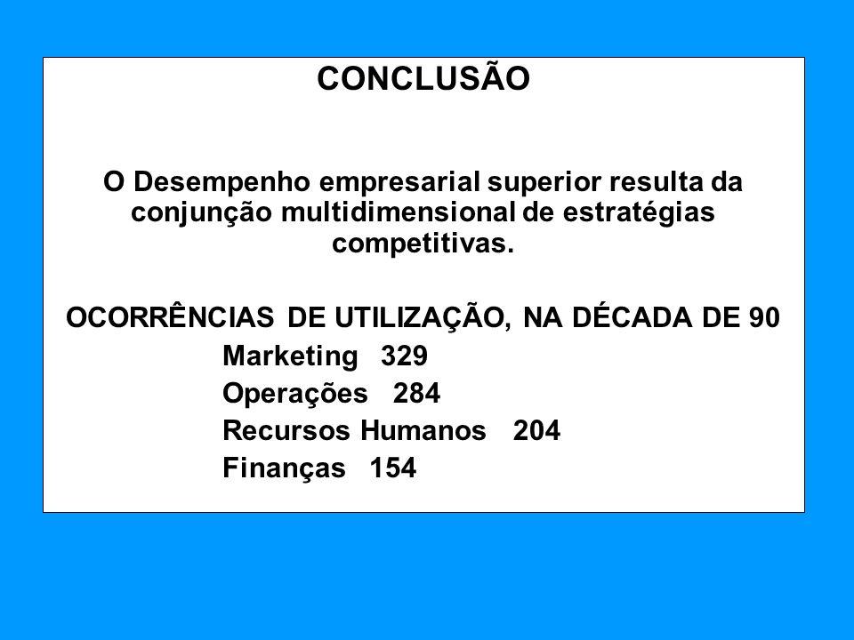 OCORRÊNCIAS DE UTILIZAÇÃO, NA DÉCADA DE 90