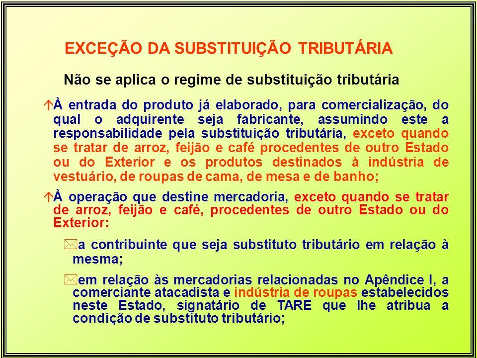 Não se aplica o regime de substituição tributária
