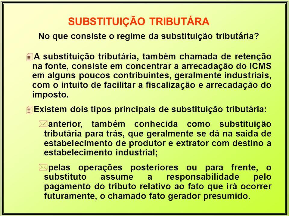 No que consiste o regime da substituição tributária