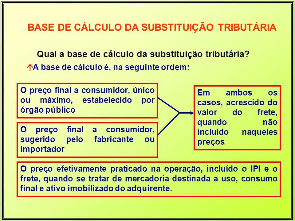 Qual a base de cálculo da substituição tributária