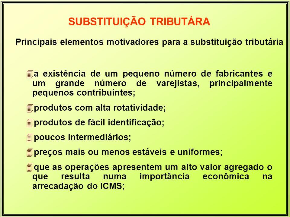 Principais elementos motivadores para a substituição tributária