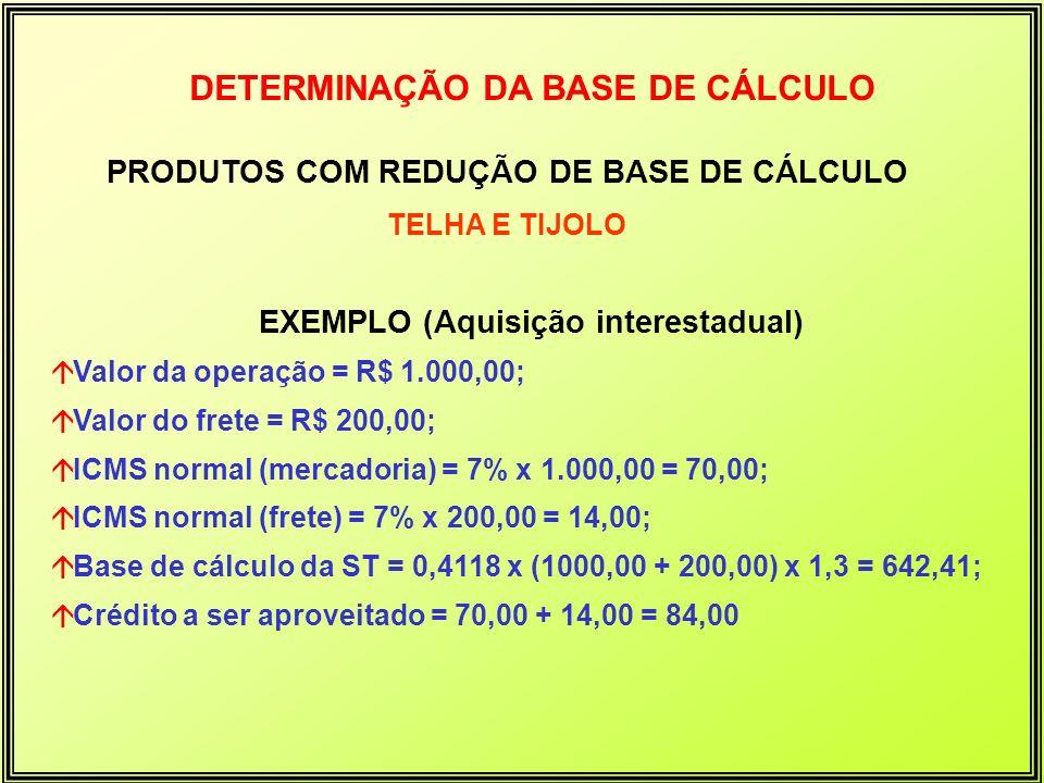 DETERMINAÇÃO DA BASE DE CÁLCULO