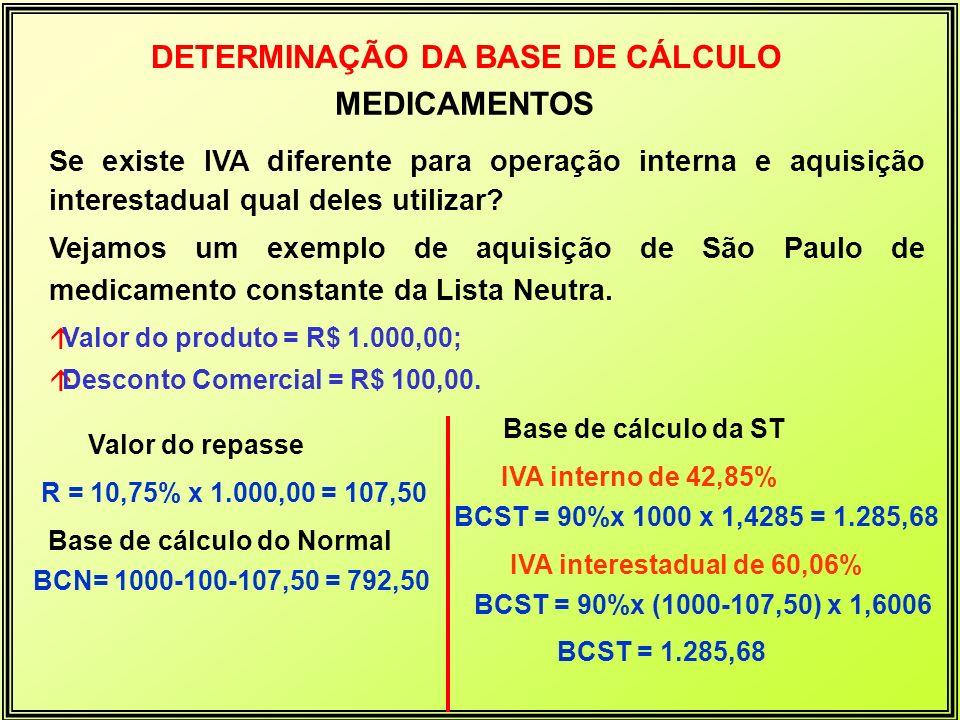 DETERMINAÇÃO DA BASE DE CÁLCULO Base de cálculo do Normal