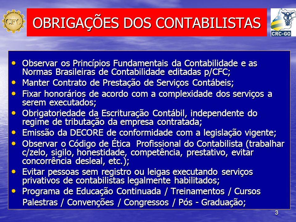 OBRIGAÇÕES DOS CONTABILISTAS