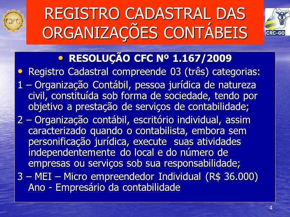 REGISTRO CADASTRAL DAS ORGANIZAÇÕES CONTÁBEIS