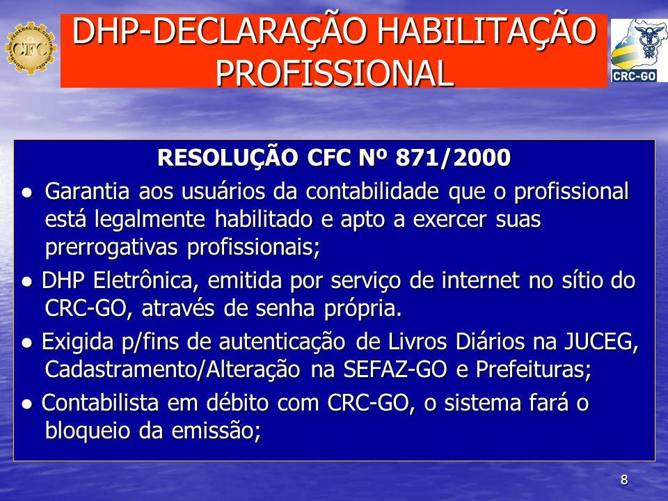 DHP-DECLARAÇÃO HABILITAÇÃO PROFISSIONAL