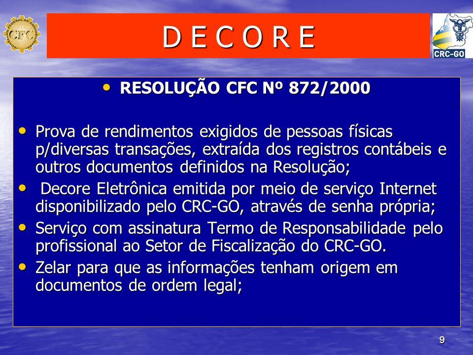 D E C O R E RESOLUÇÃO CFC Nº 872/2000