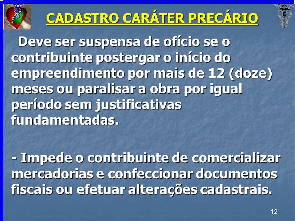 CADASTRO CARÁTER PRECÁRIO