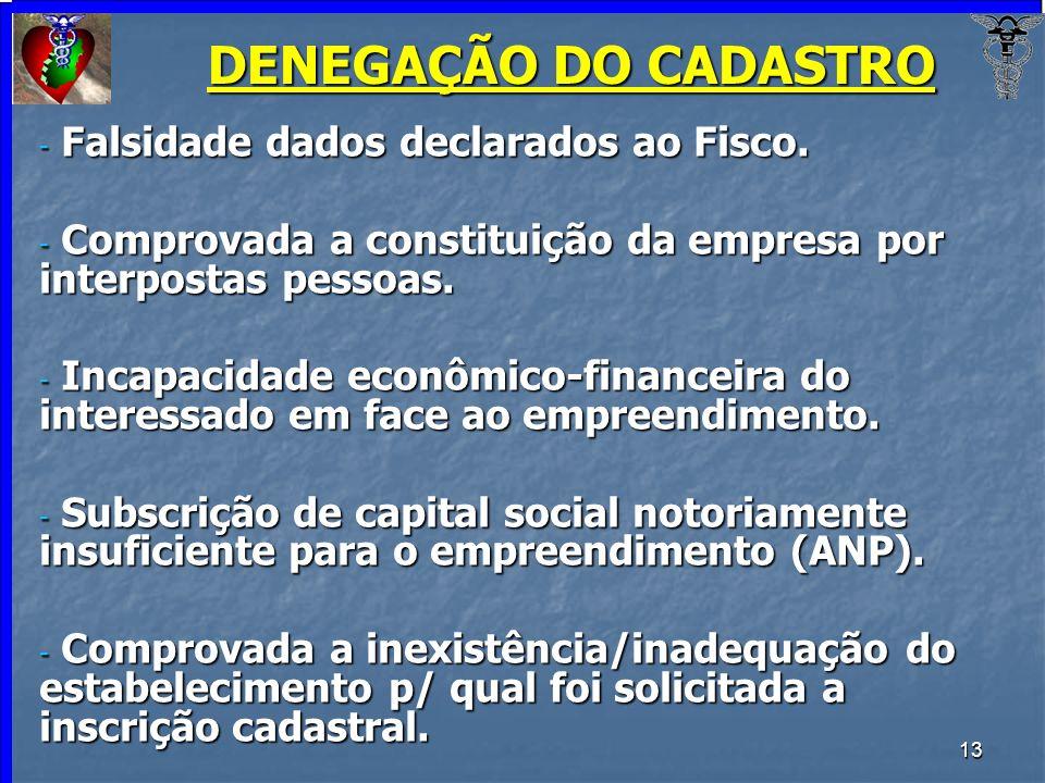 DENEGAÇÃO DO CADASTRO Falsidade dados declarados ao Fisco.