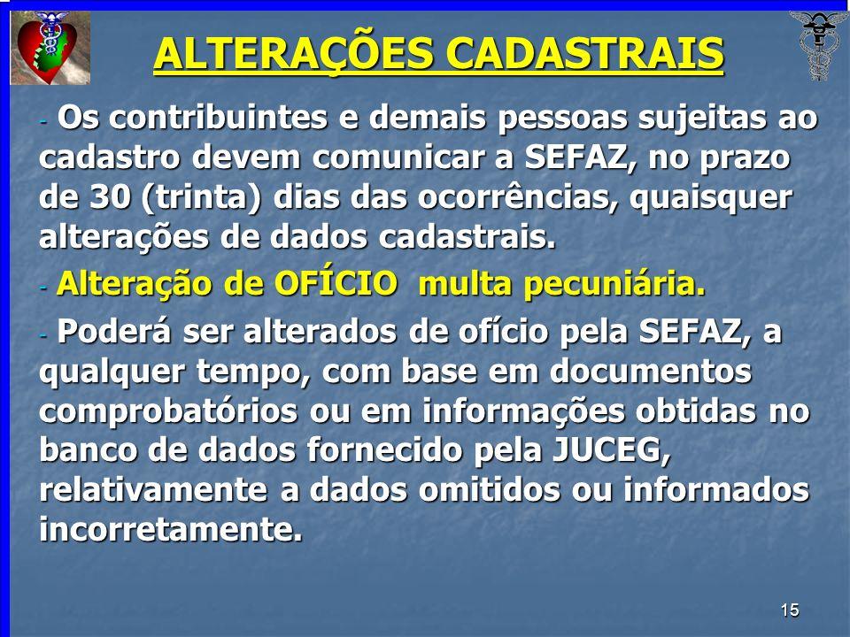 ALTERAÇÕES CADASTRAIS