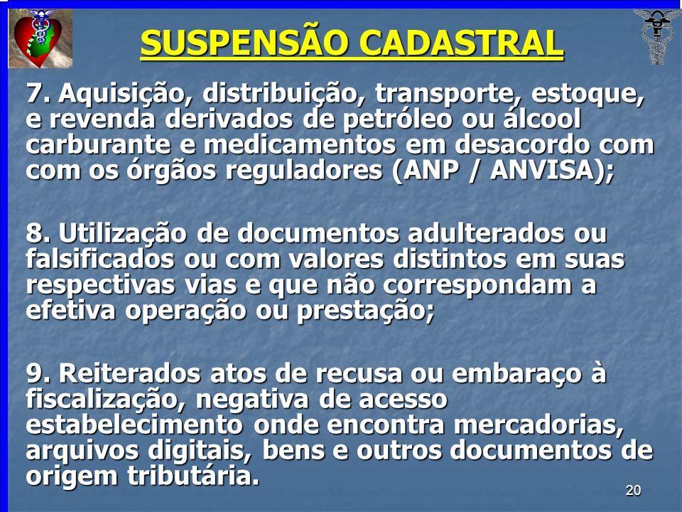 SUSPENSÃO CADASTRAL