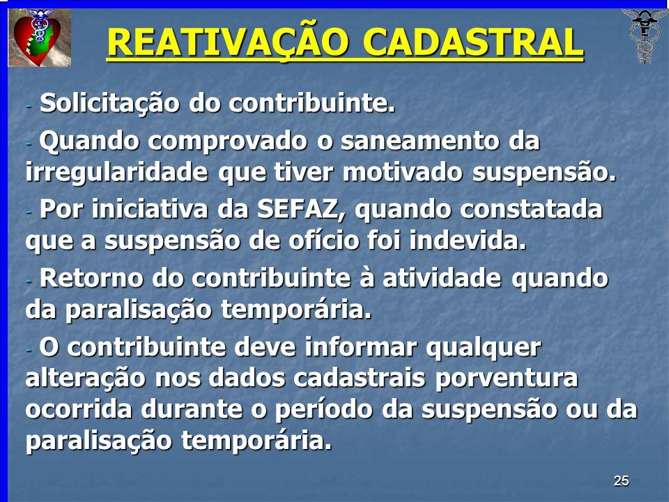 REATIVAÇÃO CADASTRAL Solicitação do contribuinte.