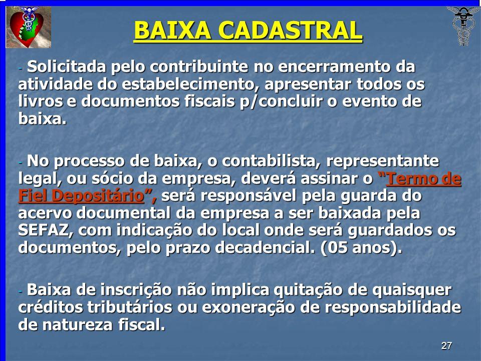 BAIXA CADASTRAL