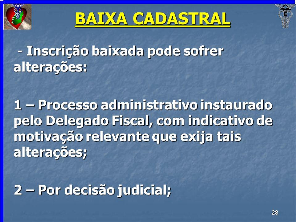 BAIXA CADASTRAL - Inscrição baixada pode sofrer alterações:
