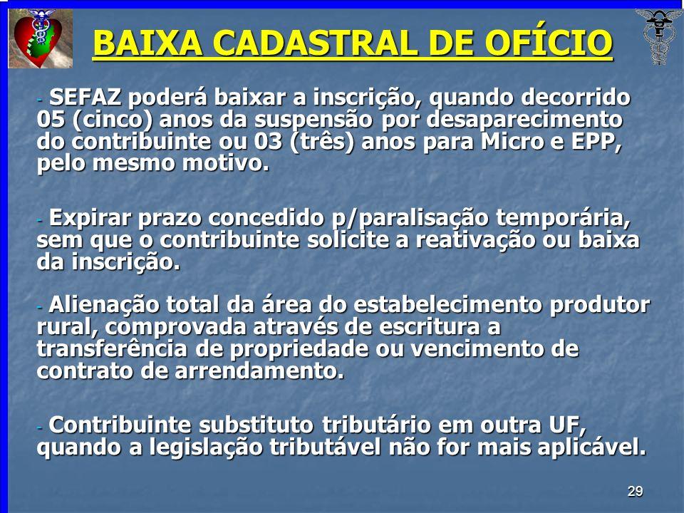 BAIXA CADASTRAL DE OFÍCIO