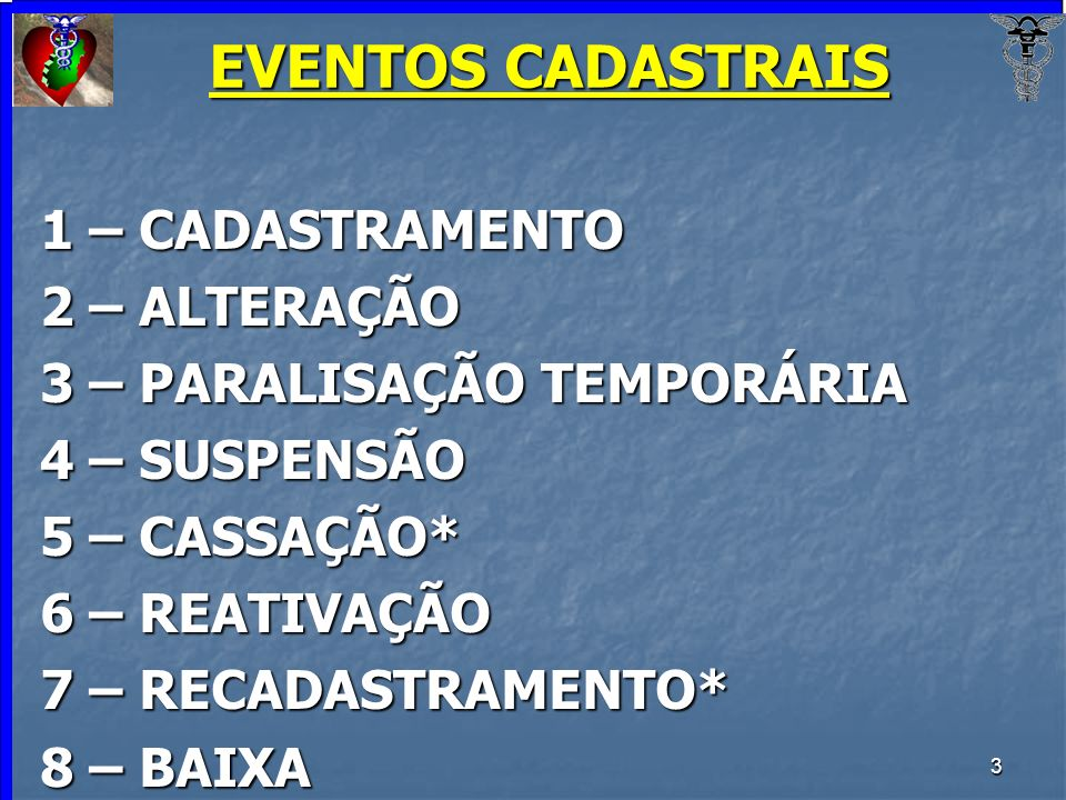 EVENTOS CADASTRAIS 1 – CADASTRAMENTO 2 – ALTERAÇÃO