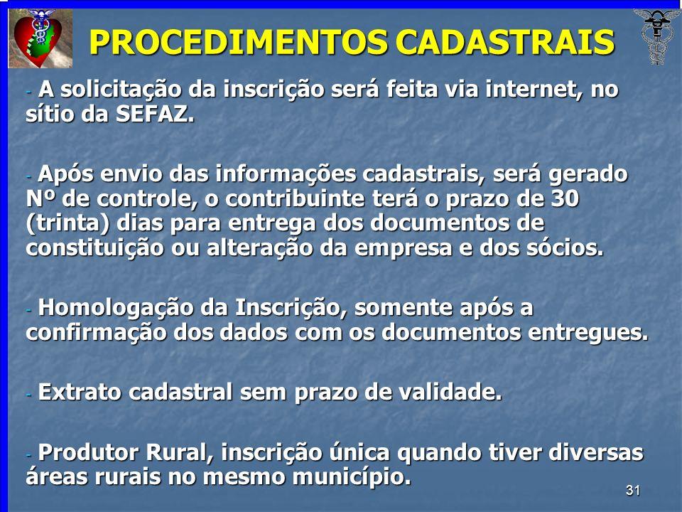 PROCEDIMENTOS CADASTRAIS