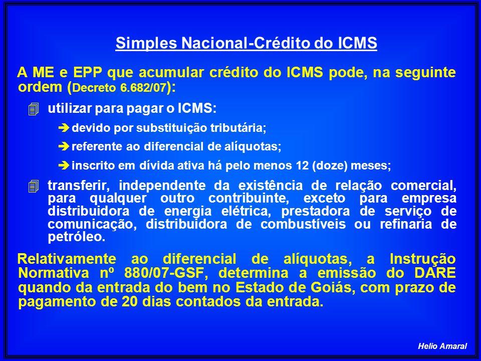 Simples Nacional-Crédito do ICMS