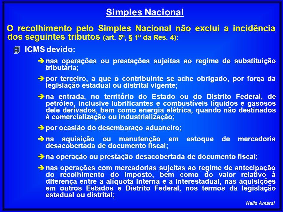 Simples Nacional O recolhimento pelo Simples Nacional não exclui a incidência dos seguintes tributos (art. 5º, § 1º da Res. 4):