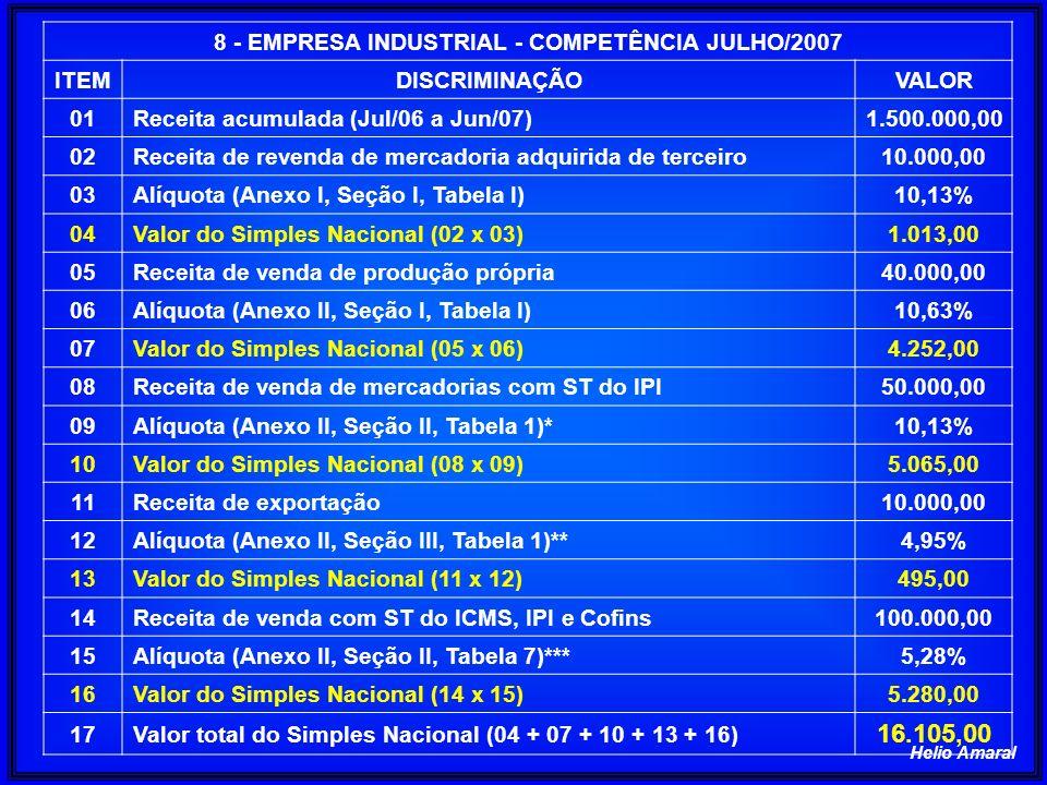 8 - EMPRESA INDUSTRIAL - COMPETÊNCIA JULHO/2007