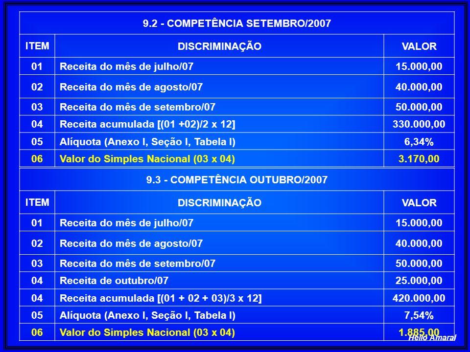 9.2 - COMPETÊNCIA SETEMBRO/2007 9.3 - COMPETÊNCIA OUTUBRO/2007