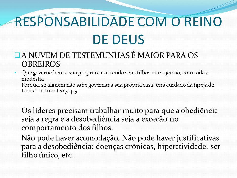 RESPONSABILIDADE COM O REINO DE DEUS