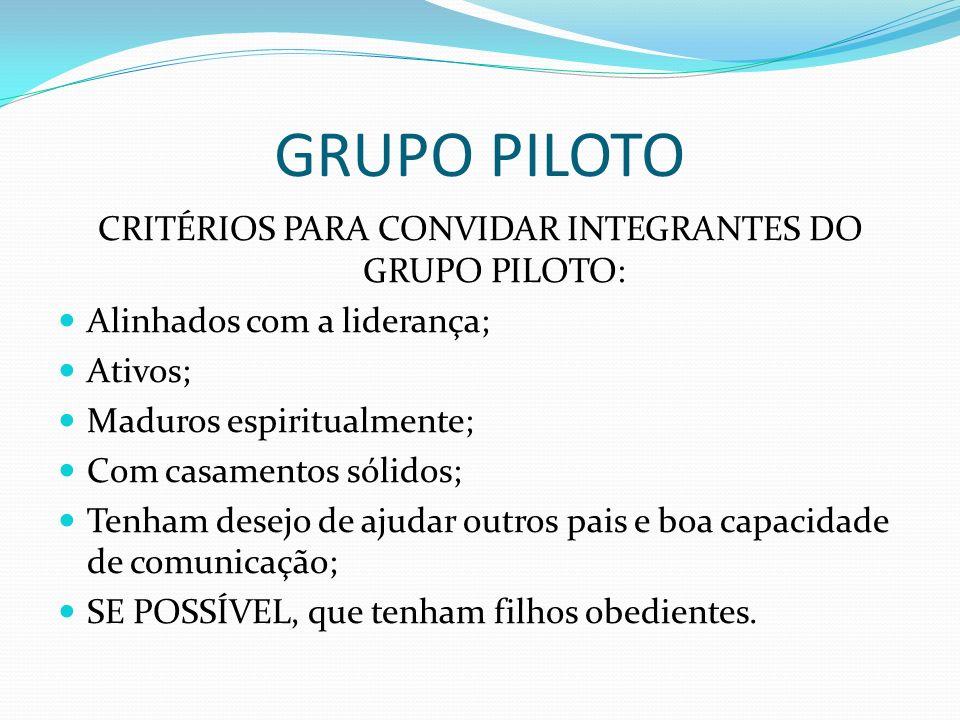 CRITÉRIOS PARA CONVIDAR INTEGRANTES DO GRUPO PILOTO: