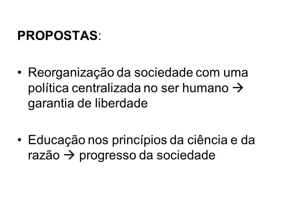PROPOSTAS: Reorganização da sociedade com uma política centralizada no ser humano  garantia de liberdade.