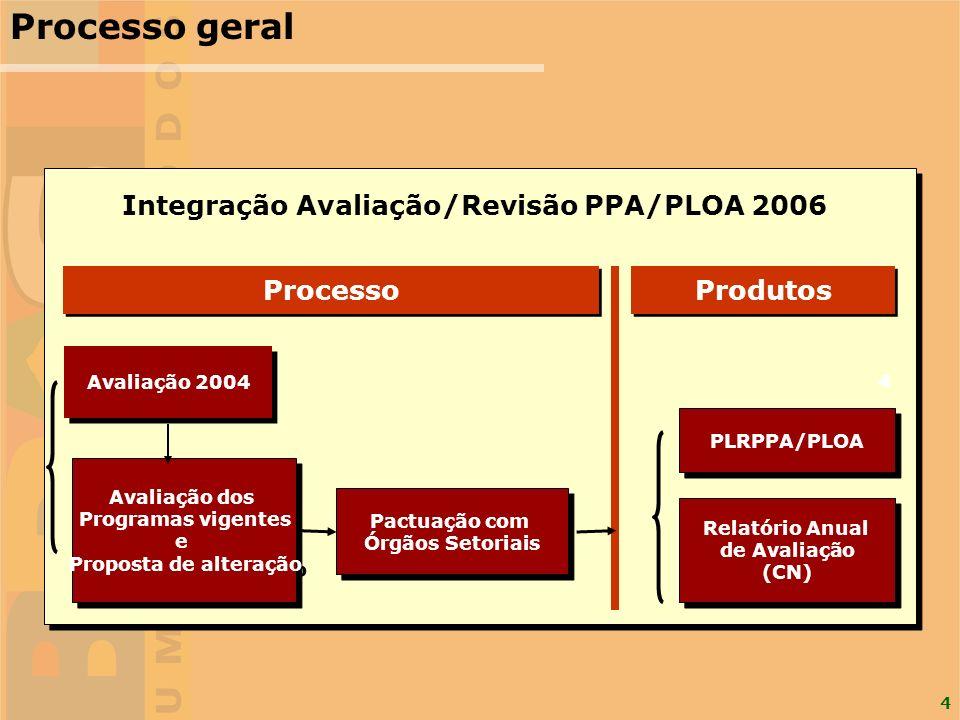Processo geral Integração Avaliação/Revisão PPA/PLOA 2006 Processo