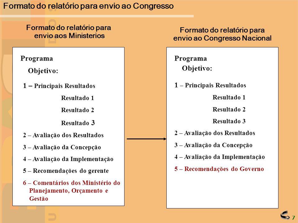 Formato do relatório para envio ao Congresso