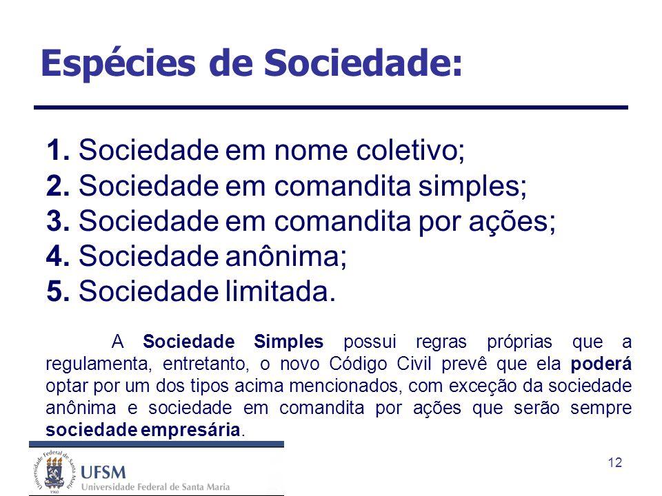 Espécies de Sociedade: