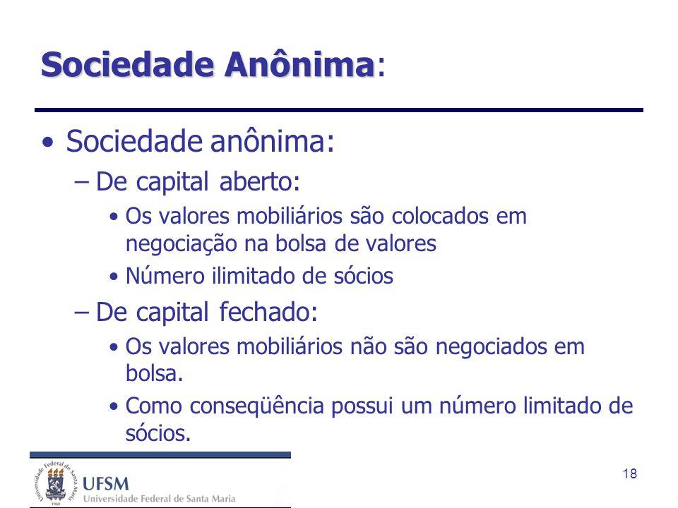 Sociedade Anônima: Sociedade anônima: De capital aberto: