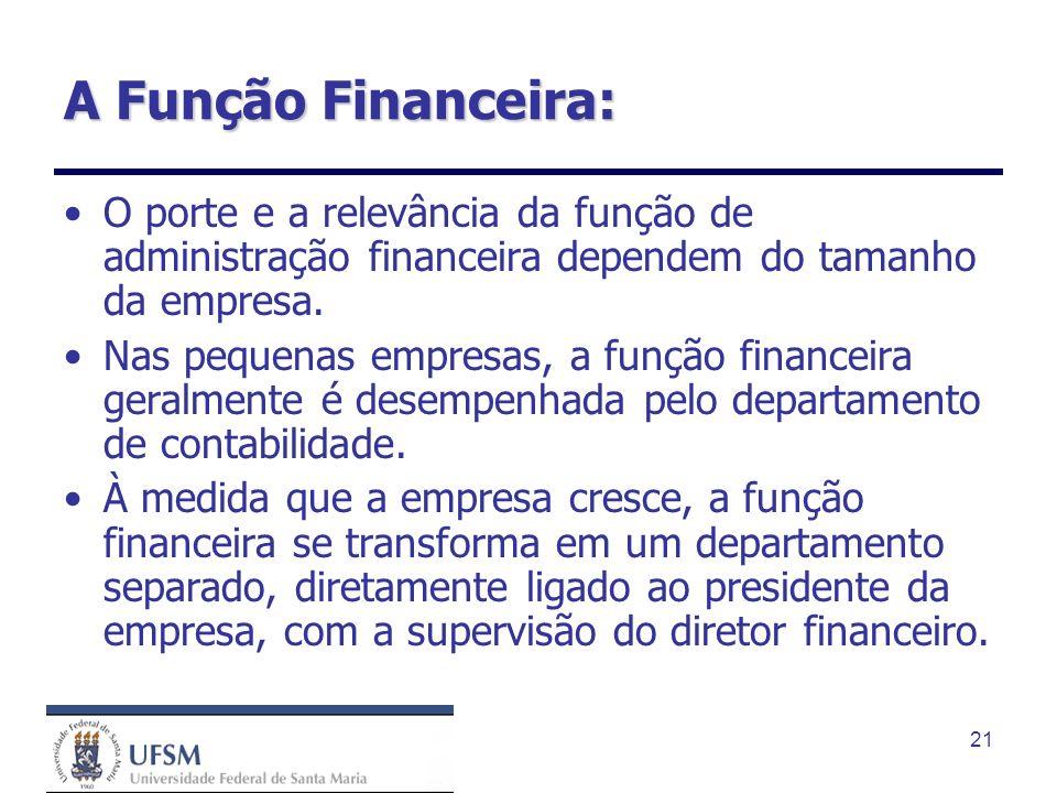A Função Financeira:O porte e a relevância da função de administração financeira dependem do tamanho da empresa.