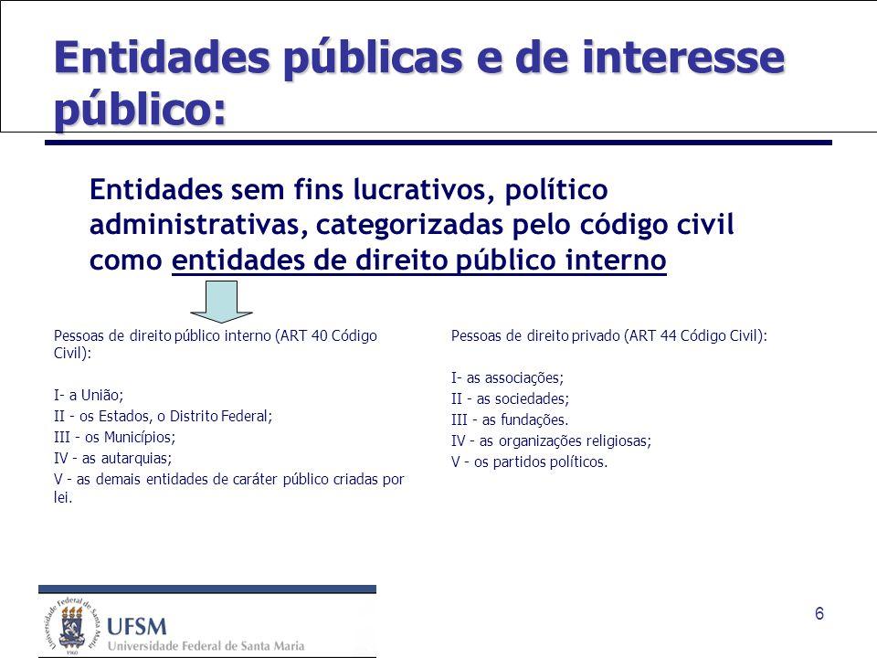 Entidades públicas e de interesse público: