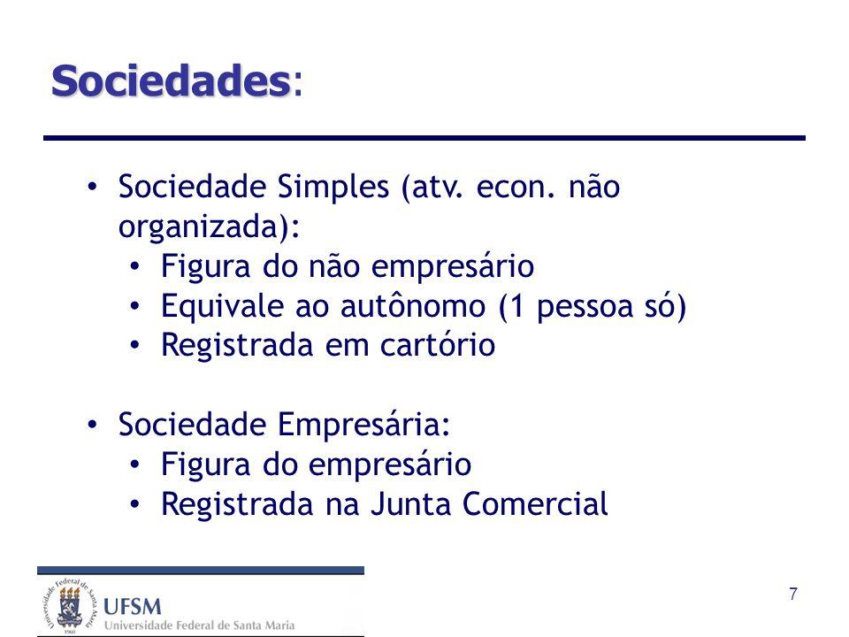 Sociedades: Sociedade Simples (atv. econ. não organizada):