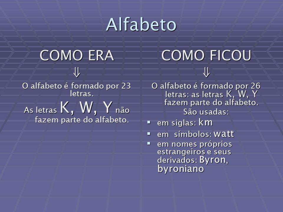 Alfabeto COMO ERA ⇓ COMO FICOU ⇓ O alfabeto é formado por 23 letras.